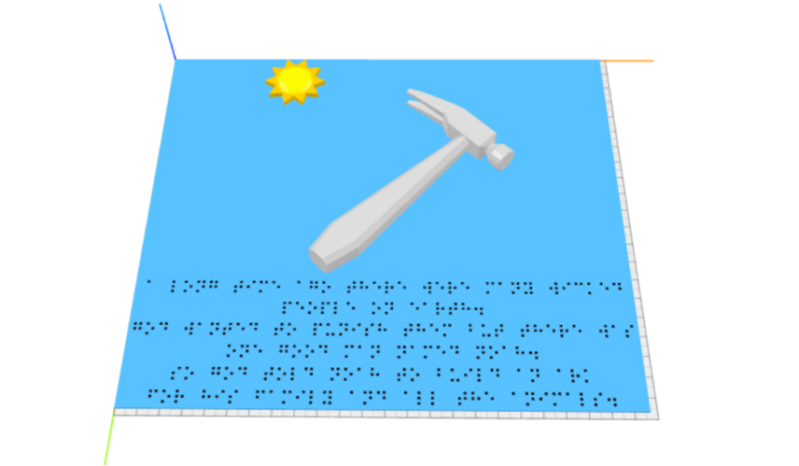 Image 1: First iteration of the first page. Here, the model of the sun and hammer are positioned above several lines of braille, with no distinction between the image and text areas.