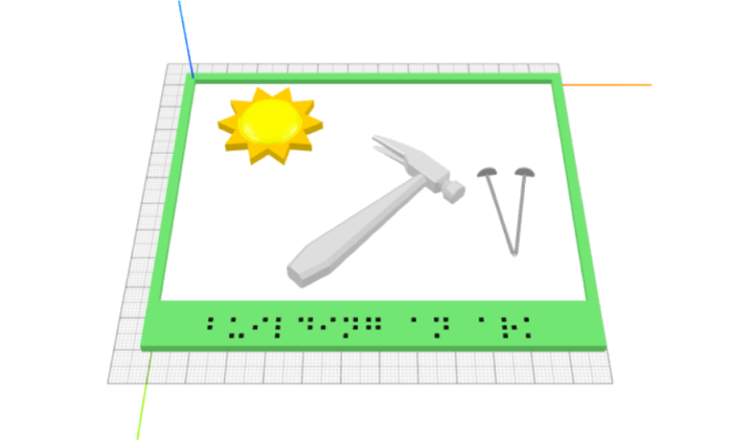 Image 3: Final iteration of the first page. A sun is positioned in the upper-left, under which are a hammer and two nails in line. The modeled picture is enclosed by a frame that is labeled with a braille caption on the bottom.