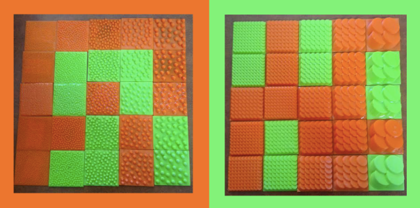 The picture on the left shows all the different sizes and treatments of the fish scale texture. The scales are made of the top of cylinders tilted about 10 degrees and overlapped in an offset pattern. The extra small scales are a little less than a quarter of an inch (5 mm) in diameter, the small scales are about a quarter of an inch (6.25 mm) in diameter, the medium scales are about a third of an inch (8.3 mm) in diameter, the large scales are half an inch (12.5 mm) in diameter, and the extra large scales are an inch in diameter (25 mm). The picture on the right shows all the different sizes and treatments of the sand texture. The grains of sand are made of spheres partially embedded in a base to keep them all together and to allow for easier printing. The extra small grains were designed to be 1 mm in diameter which is too small for the 3D printer to print so the texture is made up of a bunch of millimeter long lines crisscrossing all over. The small sand grains are 2 mm in height, the medium sand grains are 3 mm in height, the large sand grains are 4 mm in height, and the large sand grains are 5 mm in height. The top row of textures in both pictures has no treatment and is rough to the touch. It has tiny lines that are caused by the 3D printer laying down plastic in layers. The second row of textures in both pictures has been treated with an acetone bath. Each texture is still well defined but the tiny lines from 3D printing are no longer there. The third row of textures in both pictures is treated with XTC. This smoothed out the textures and made them less well defined. The fourth row of textures in both pictures is treated with acetone vapor. This smoothed out the tiny lines a little bit, however they are still there. The final row of textures in both pictures is treated with grippy spray plastic. There are no more tiny lines and each texture is very grippy feeling.